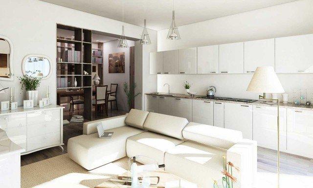 Cucina e salotto La cucina è super attrezzata lungo la parete libera di 450 cm. Bianca e dal design lineare, dialoga benissimo con lo stile e i colori dell'angolo conversazione, delimitato dal sofà di ampie proporzioni: un modello con sedute modulari la cui configurazione può variare in base alle esigenze. L'arredamento è improntato alla massima eleganza e contemporaneità ed enfatizza la luce e la leggerezza di tutto l'ambiente. Benché suddiviso, ai fini della normativa il soggiorno è un locale unico. Privo di chiusure intermedie, prende luce e aria dalle due aperture del balcone.