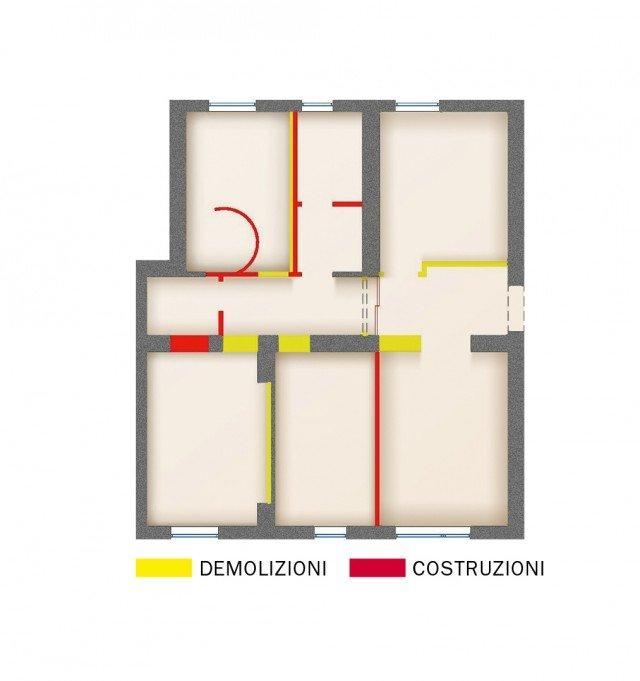 I lavori eseguiti Per realizzare il progetto è necessario intervenire sulla muratura in modo consistente e rifare completamente anche tutti gli impianti: la cucina viene spostata e si aggiungono un bagno e la lavanderia. E cambia l'assetto delle altre stanze. Questo comporta naturalmente la necessità di sostituire la pavimentazione e rinnovare le altre finiture. In questo caso anche le ante delle porte perché alcune delle aperture vengono ampliate e non solo traslate.