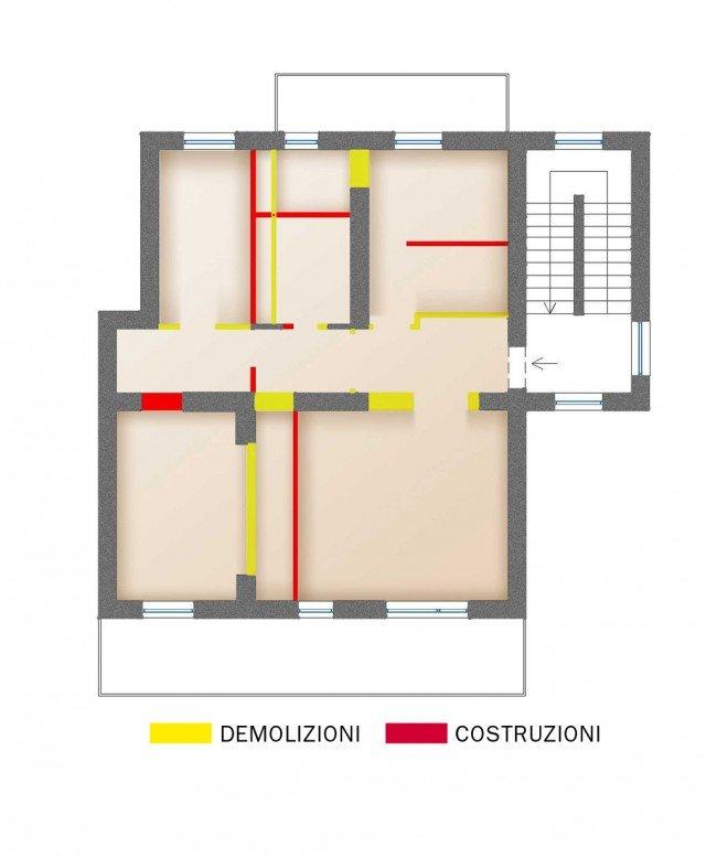 I lavori eseguiti Anche in questa soluzione il lay-out della casa è completamente ridisegnato e gli impianti rifatti ex-novo. Tutti i muri vengono spostati (tranne i due portanti) e anche le porte cambiano posto. Le modifiche alla muratura per il nuovo assetto della casa sono state studiate anche tenendo conto dell'arredamento, della posizione delle aperture e finalizzate a ottenere per ciascun locale la giusta superficie (a norma). Solo una progettazione integrata (arredo, illuminazione, impianti) permette di ottenere i migliori risultati al minor costo.
