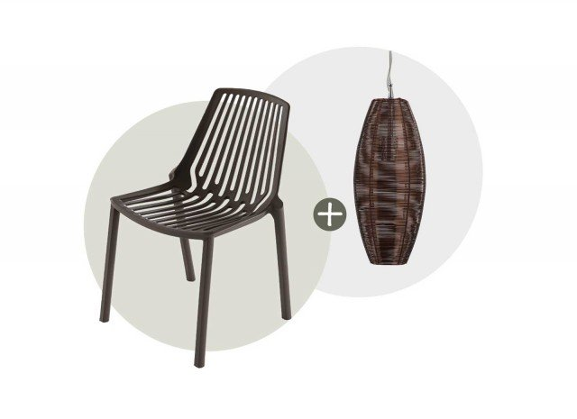 Intrecci moderni. ■ Holly di Max Home, indispensabile se aumentano gli ospiti, la sedia in polipropilene è leggerissima e impilabile. Misura L 47 x P 55,5 x H 79,5 cm. Costa 73 euro.  (www.max-home.it) ■ Crisalide di Mondo Convenienza ha forma allungata del paralume in metallo intrecciato che suggerisce di accostare più elementi. Misura Ø 20 x H max 175 cm; costa 44 euro. (www.mondoconv.it)