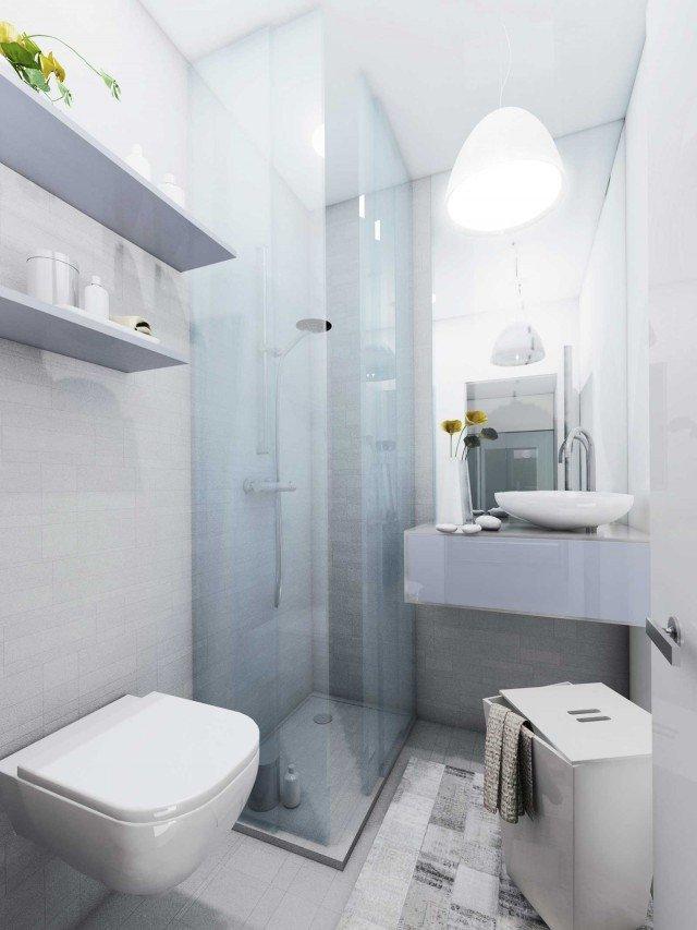 Il secondo bagno È aggiunto nella parte finale del corridoio, recuperando 2,5 mq. Benché mini, la metratura è più che sufficiente, e può essere arredato anche solo con vaso, lavabo e doccia.