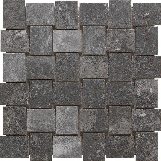 Riproduce l'effetto della pietra per texture e colore, ma è un pratico mosaico in gres porcellanato della collezione London colore Charcoal di Ceramica Rondine, realizzato con impasto colorato. Misura 30 x 30 cm. www.ceramicarondine.it