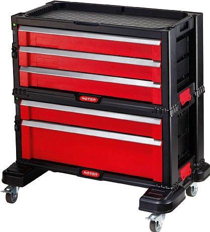 È facilmente trasportabile la cassettiera componibile di Keter in metalloe plastica; misura L 59,8 x P 37,7 x H 59,8 cm e costa 119 euro. Distribuita da Escher,www.escher.it