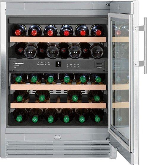 Può contenere fino a 24 bottiglie la cantina temperata WTes 1672 di Liebherr in classe A; misura L 60 x P 57,5 x H 82,2 cm. distr. BSD, www.bsdspa.it