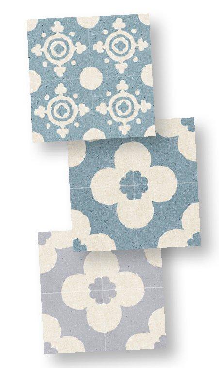 In graniglia di marmo, i decori Guanica e Banes di Mipa sono proposti in 2 varianti cromatiche, nella misura 20 x 20 cm. www.mipadesign.it