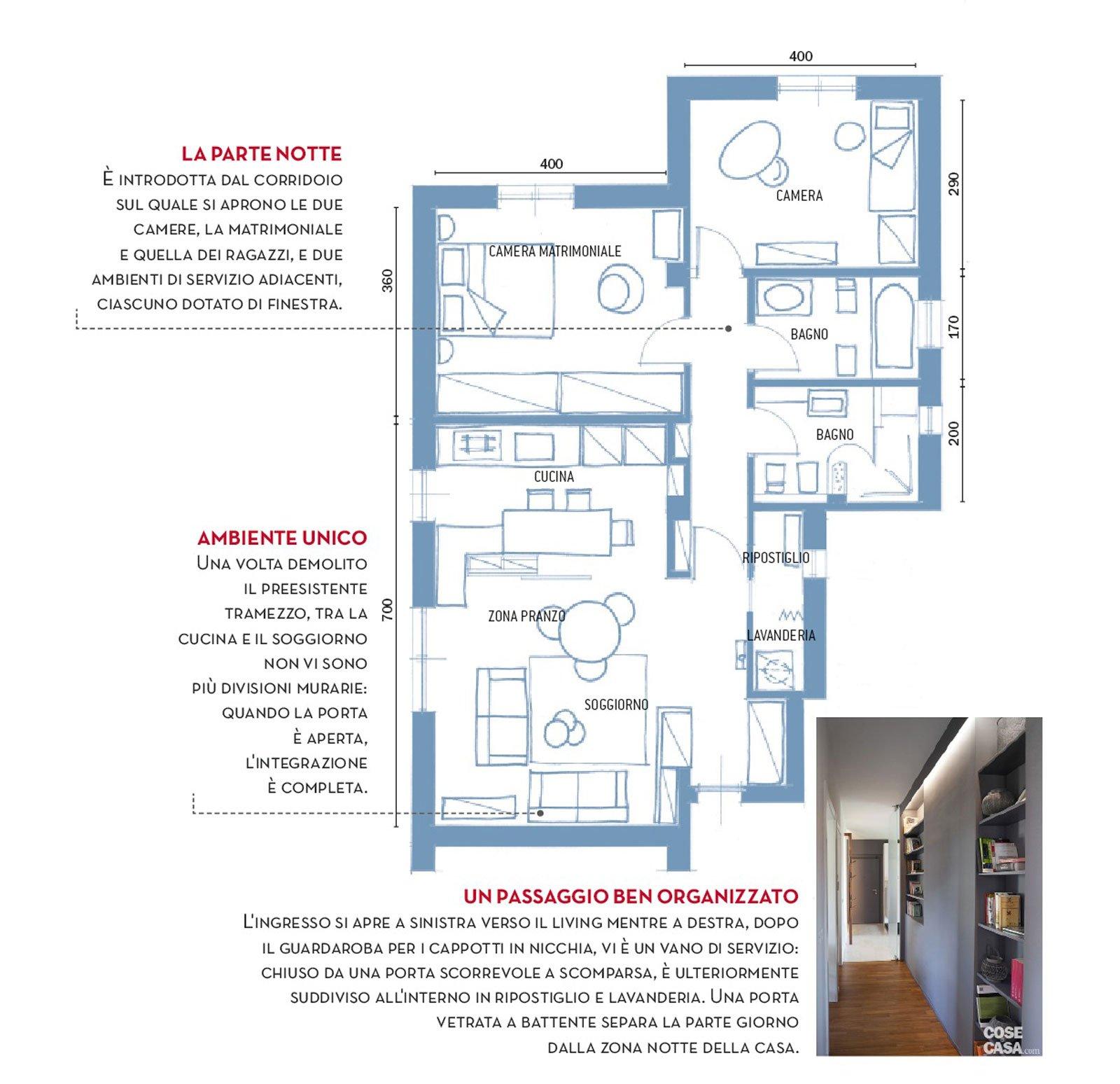 80 mq con controsoffitti funzionali e d 39 effetto cose di casa for Casa moderna 80 mq