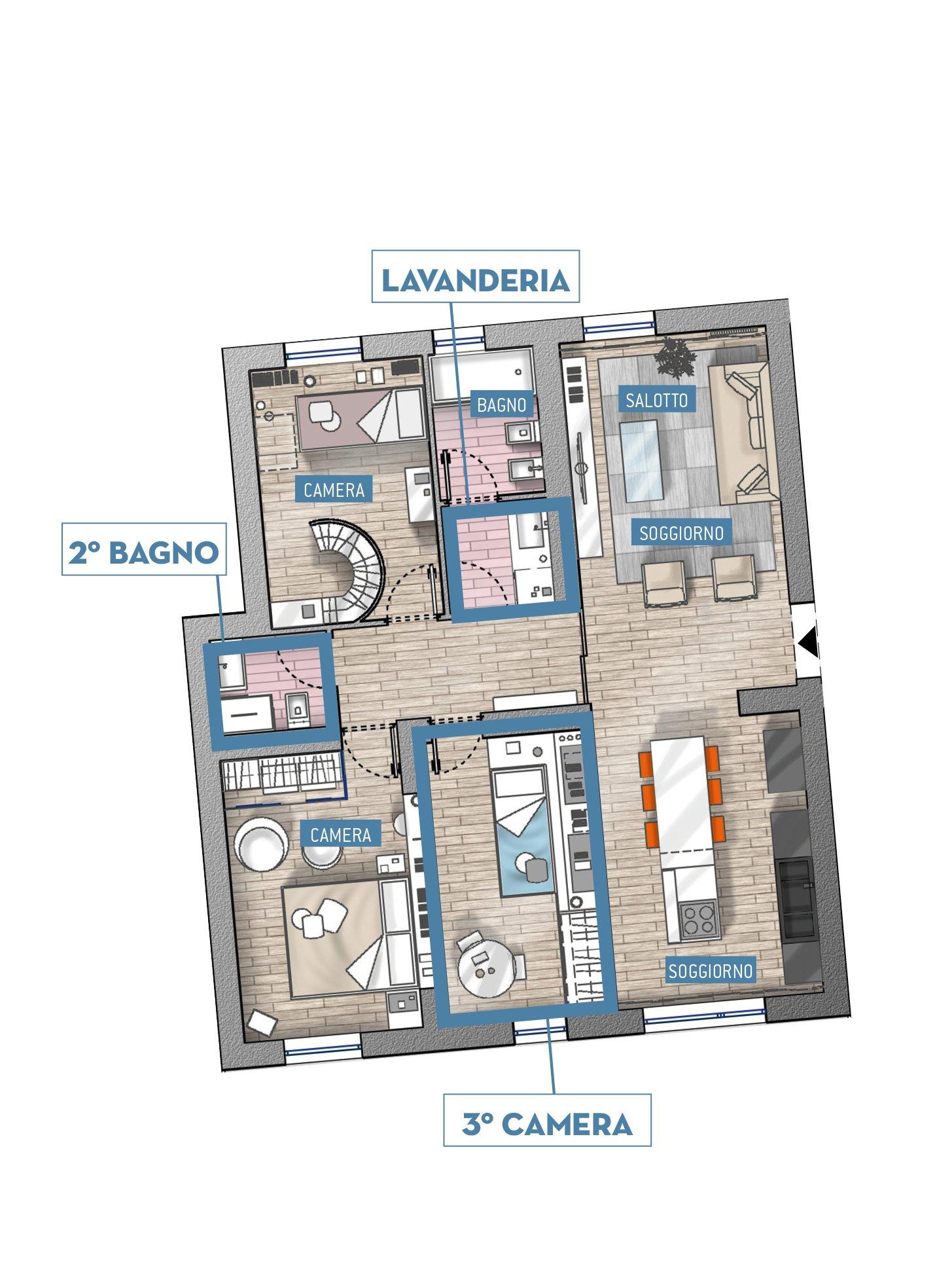Progetti in 3d e in pianta due soluzioni alternative per for Cercatore di progetti di casa