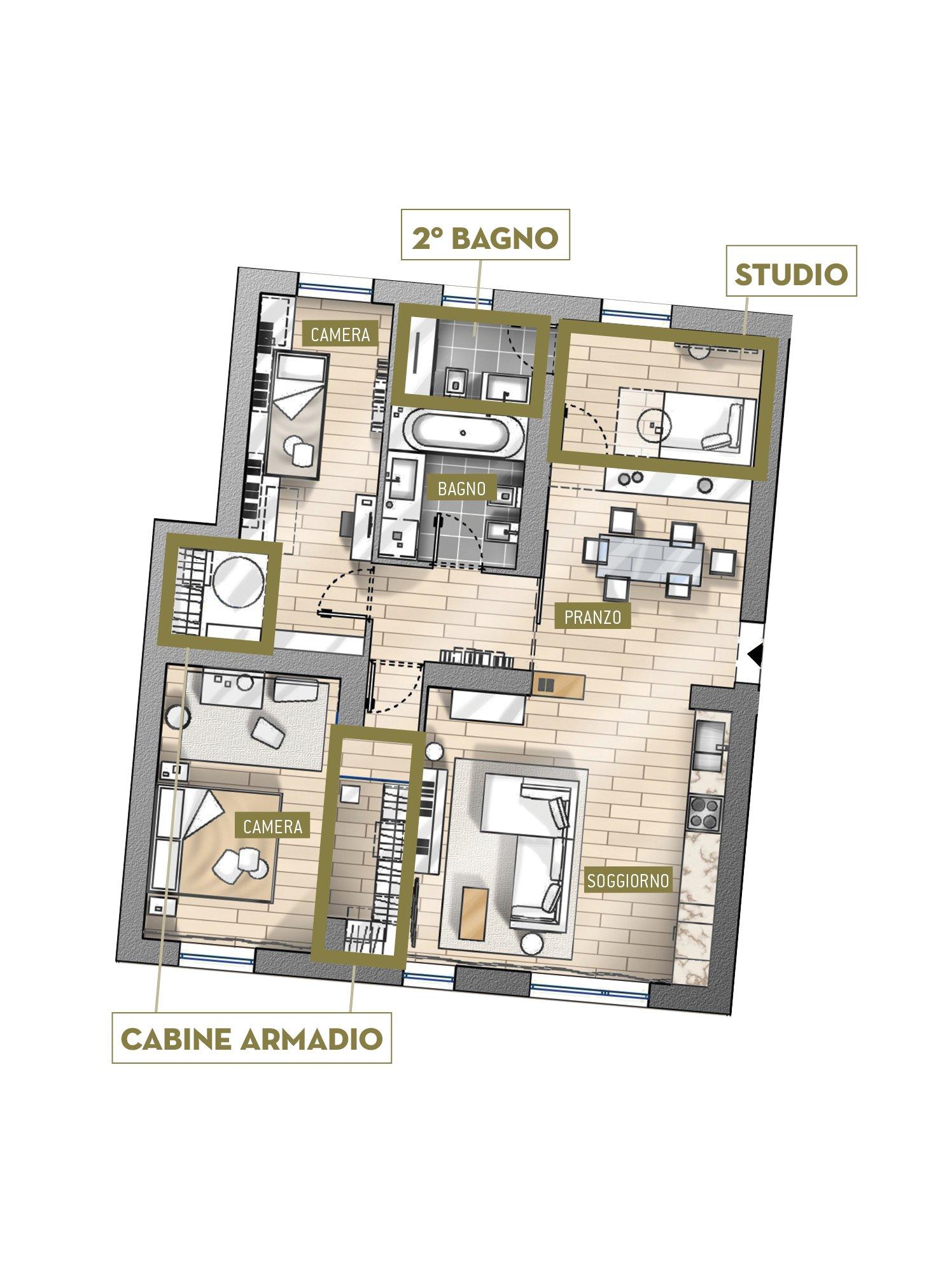Progetti in 3d e in pianta due soluzioni alternative per for Progetti di casa di lusso e planimetrie
