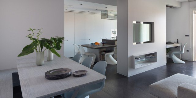 75 mq: una casa con geometriein bianco e nero