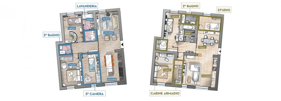 Progetti in 3d e in pianta due soluzioni alternative per for Progetti contemporanei di case a pianta aperta
