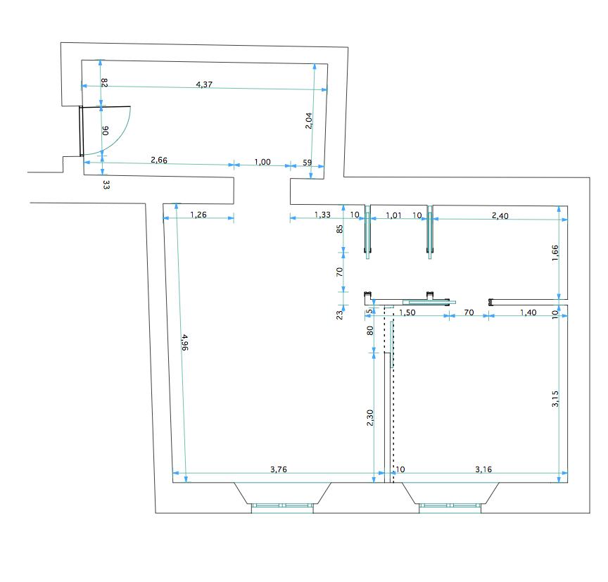 44 mq un bilocale al piano terra da rendere luminoso e for Disegni di casa al piano terra