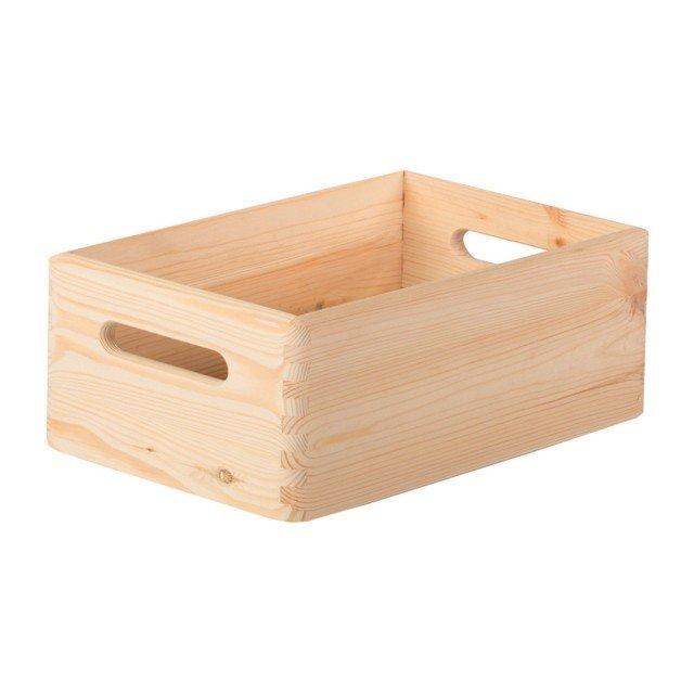 È in pino grezzo naturale la solida scatola di Leroy Merlin adatta per riporre qualsiasi piccolo oggetto e prodotto utile in bagno. Misura L 20 x P 15 x H 9 cm. Prezzo 3,99 euro. www.leroymerlin.it
