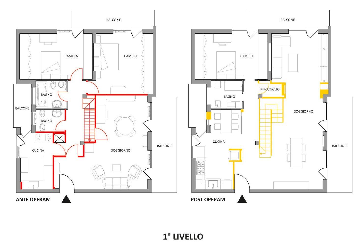 Sottotetto su due livelli con ambienti open space cose for Piante di case