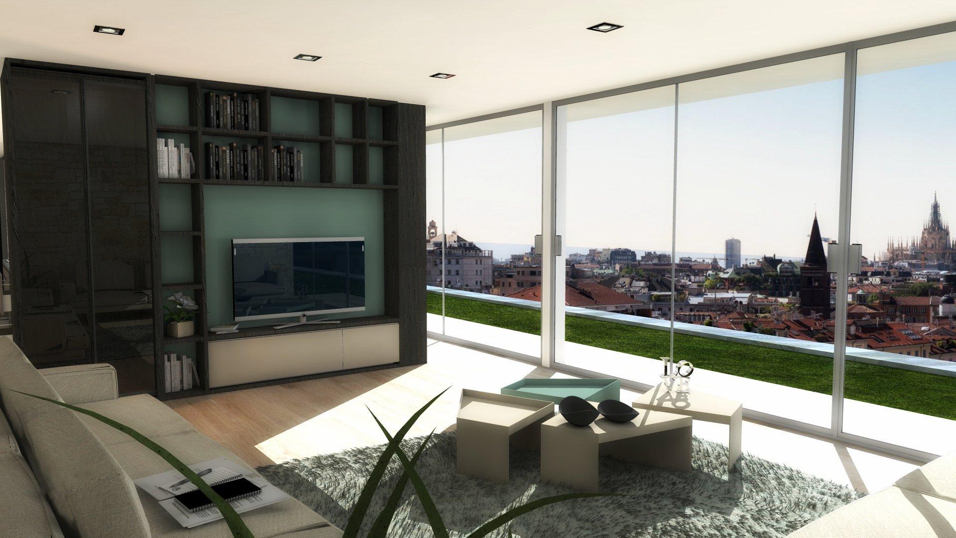 Dividere soggiorno e cucina senza pareti un progetto in 3d for Lo space senza pareti