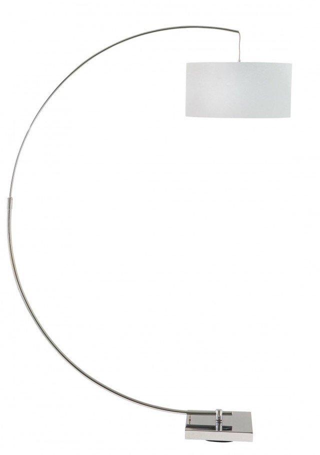 Rigorosa con stelo a semicerchio A base quadrata, con asta in alluminio, la lampada da terra Urban Blanc di Maisons du Monde ha il paralume (Ø 40 cm) in cotone bianco; misura L 40 x P 97 x H 188 cm e costa 79,99 cm.