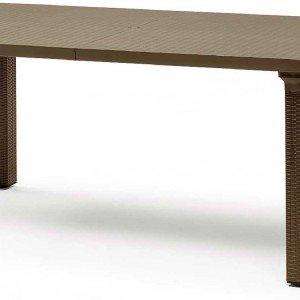 Tavolone di Scab Design ha il piano e le gambe (dotate di piedini regolabili) in tecnopolimero, caratterizzato da una superficie con motivo intrecciato colore bronzo; misura L 170 x P 100 x H 74 cm. Prezzo 282 euro. www.scab.it