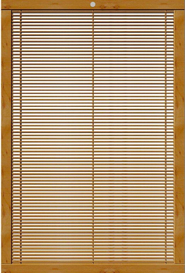 Il grigliato Mistral di Pircher, adatto per creare quinte divisorie, è in legno di abete verniciato con impregnante in rovere; un pannello nella misura di cm 118,5 x H 178 costa 276 euro. www.pircher.eu
