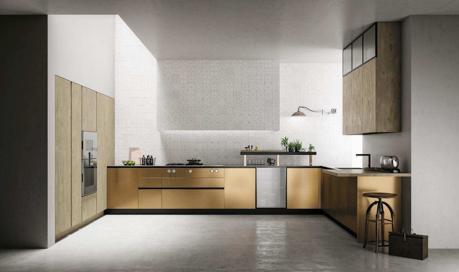 Cucina senza maniglie si apre con le gole cose di casa - Cucine in ferro ...