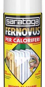 Lo spray Fernovus di Saratoga, indicato per verniciare radiatori e oggetti sottoposti all'azione del calore è disponibile nel colore bianco.
