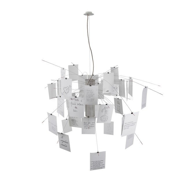 Zettel'z Anno: 1997 Design: Ingo Maurer Produttore: Ingo Maurer • Un classico del design contemporaneo, la scenografica sospensione ha struttura in acciaio da cui pendono, in una libera composizione, 80 fogli di carta giapponese, in parte bianchi e in parte prestampati.