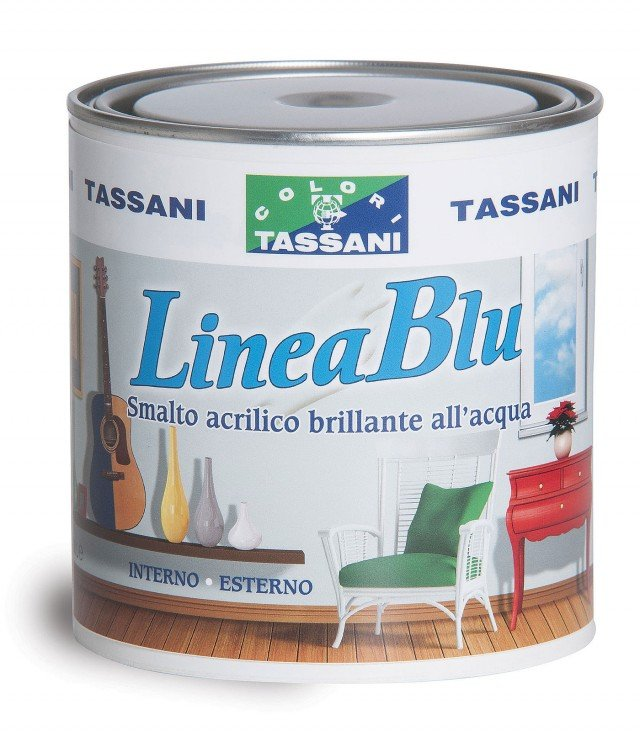 Per diversi supporti, lo smalto acrilico all'acqua Linea Blu di Tassani, nei colori bianco, nero e tinte cartella, in latta da 0,75 litri costa 19,39 euro.