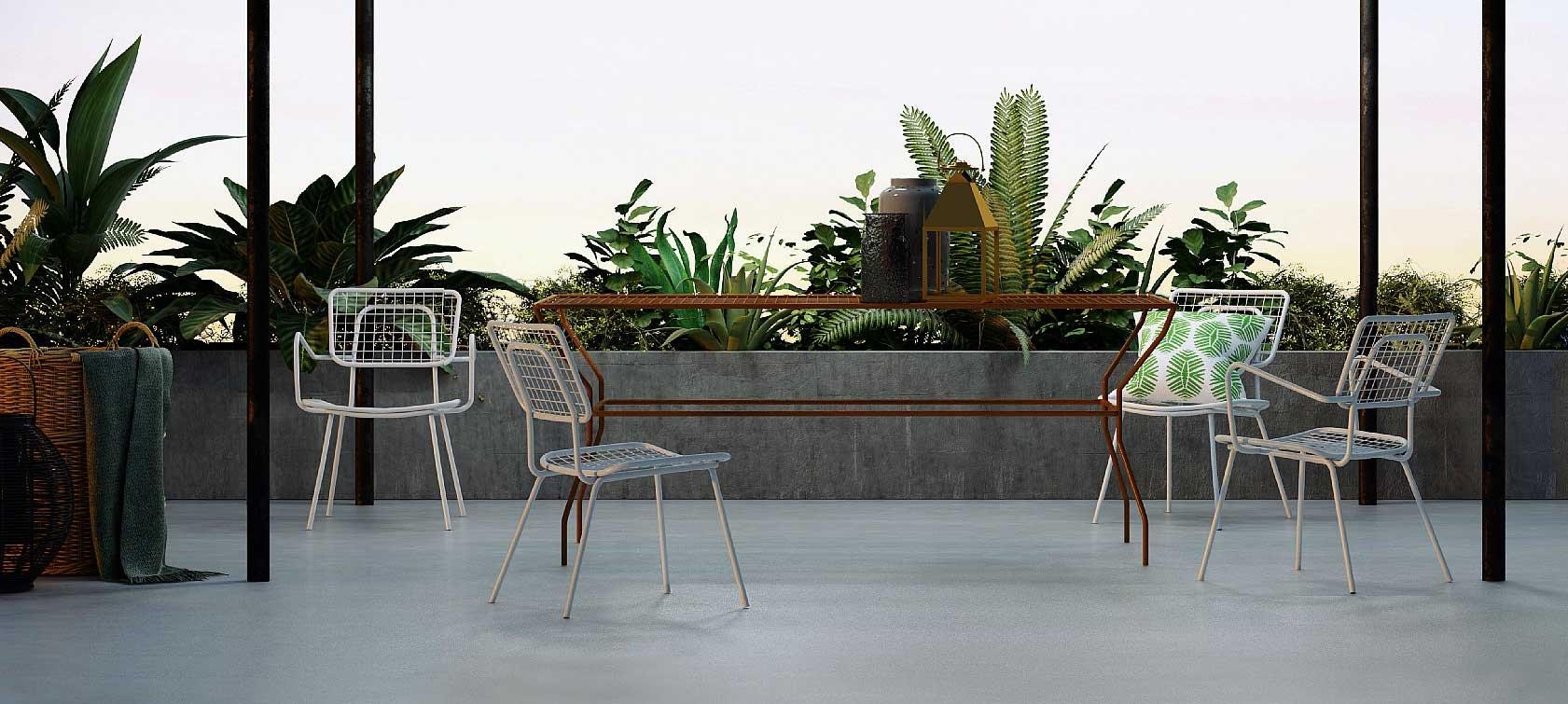 Mobili per esterno in metallo bianco nero di grande for Piccoli piani di casa in metallo