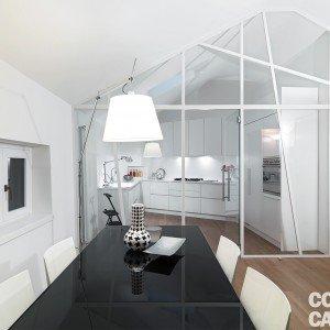 95 mq con cucina chiusa da parete vetrata, di taglio diagonale ...