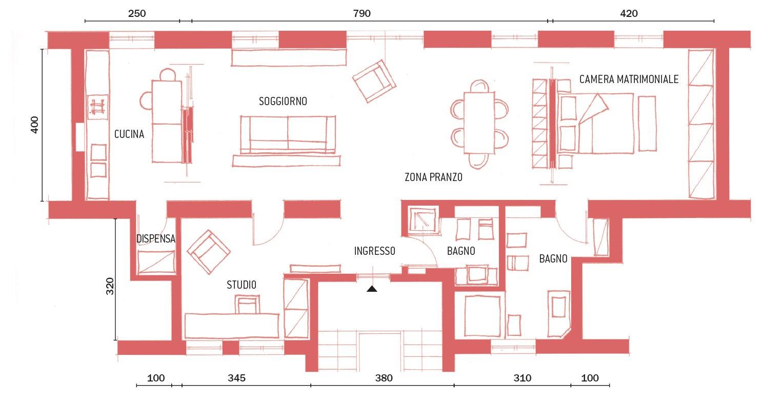 95 mq con spazi apribili e richiudibili a seconda delle - Pianta di una cucina ...