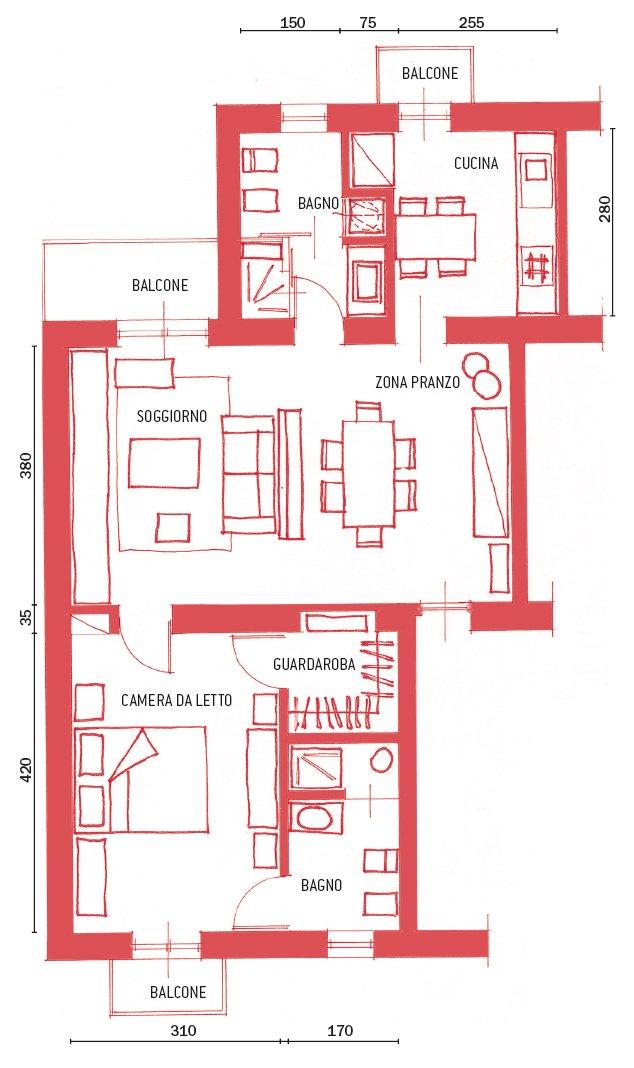 Casa di 62 mq resa pi funzionale ricavando anche il - Pianta bagno piccolo ...
