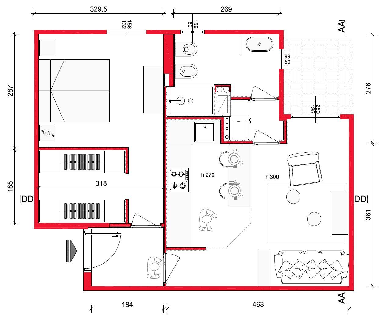 Mini casa 47 mq ben sfruttati cose di casa for Disegnare piantina appartamento