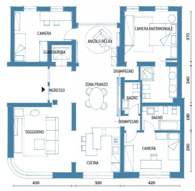 Zona giorno open space nella casa di 120 mq dai toni for Progetto zona giorno