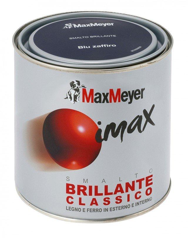 Pronto all'uso, lo smalto Imax di Max Meyer con finitura brillante è adatto per legno; una latta da 0,5 l costa 15,90 euro.