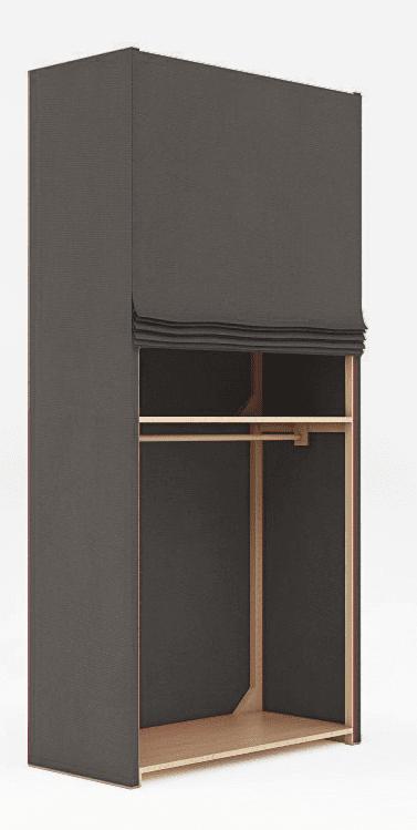 Con una struttura in multistrato di faggio, Ecobrand di Bottega 130 ha il rivestimento in cotone lavabile. Misura L 120 x P 60 x H 260 cm e, escluse le attrezzature interne, costa 1.185,80 euro. www.bottega130.it/it