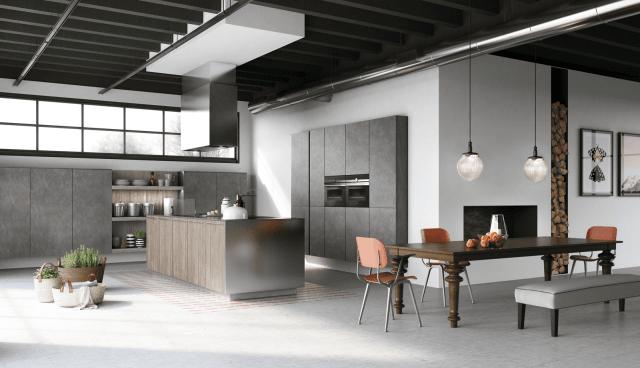 Doimo-cucine-EASY_laccato-effetto-metallo-titanio-cucina-isola