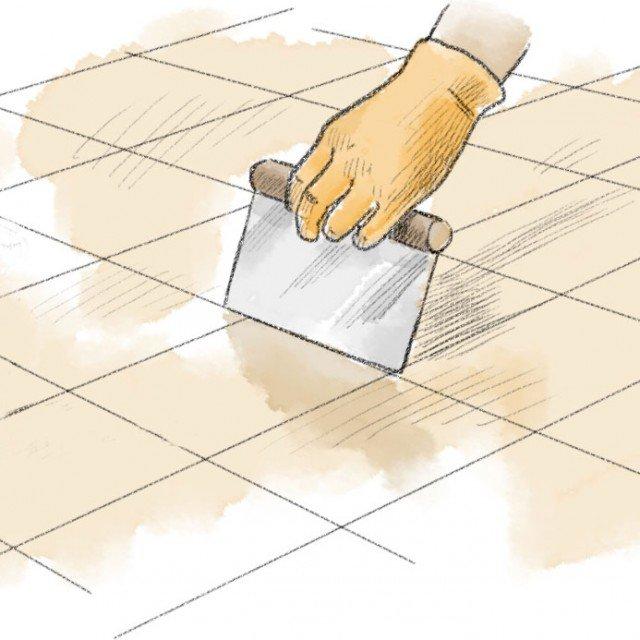 1- Innanzitutto si agisce sulle fughe alterate, ripulendole bene dallo stucco e staccando dal sottofondo le piastrelle che appaiono mobili. Su queste ultime, lo sporco più tenace residuo sui bordi si toglie con la spatola, mentre l'eliminazione della colla sulla superficie di adesione va eseguita con prodotti specifici.