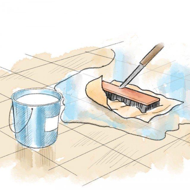 2- Occorre poi eseguire un'efficace pulizia dell'intera superficie del balcone, ottenuta utilizzando una soluzione 1:4 di acido cloridrico e acqua, lasciata agire per 3-4 ore e poi rimossa e risciacquata con uno strofinaccio. Durante l'utilizzo della soluzione e della sua rimozione è indispensabile l'uso di comuni guanti di gomma ed è consigliabile l'adozione di una mascherina. La detersione del secchio e dello strofinaccio utilizzati va fatta in lavelli ceramici privi di parti metalliche, poiché l'acido cloridrico è in grado di corroderle. Ricordiamo che l'acido cloridrico è comunemente in commercio con il nome di acido muriatico e consiste in una soluzione al 10% di acido cloridrico e acqua. Una volta ripulita l'intera area, si interviene sulla pulizia della porzione da ripristinare, eliminando dal massetto di cemento granelli di sabbia, sporco, vernice, grasso o qualsiasi altra cosa che possa impedire un buon incollaggio.