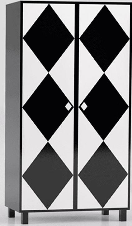 Un gioco di rombi in b/n, da abbinare anche in coppia: l'interno di Camicia di Altreforme prevede tre scomparti per anta, ma è possibile personalizzarlo su richiesta; l'esterno è proposto in più grafiche e colori. È in alluminio e misura L 100 x P 45 x H 179 cm. www.altreforme.com/it/itm.