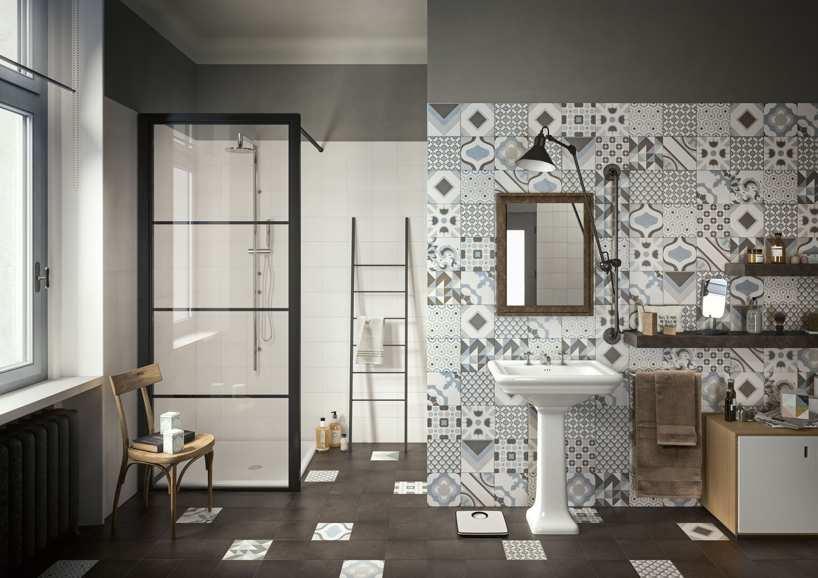 Piastrelle effetto cementine in versione attuale cose - Piastrelle diamantate bagno ...