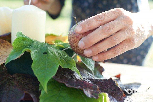 2.  Preparare le mele, la zucca, le pannocchie e i peperoncini. Mele e zucca si steccano con 2 o 4 stuzzicadenti per poterle inserire nella spugna. Le pannocchie si legano con il fil di ferro, lasciando una coda di circa 10 cm da inserire nella spugna. I peperoncini si legano lasciando 5 cm di filo di ferro. Inseriamo le tre mele a triangolo vicino alla candela: gli stuzzicadenti devono esser ben saldi nella spugna. A lato delle mele inseriamo le due pannocchie, mettendo tutto il codino di fil di ferro nella spugna.
