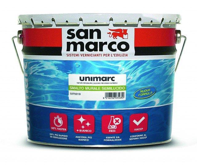 Per la latta da 10  litri dello smalto Unimarc di Colorificio San Marco. All'acqua, è inodore e garantisce buona traspirabilità. € 135