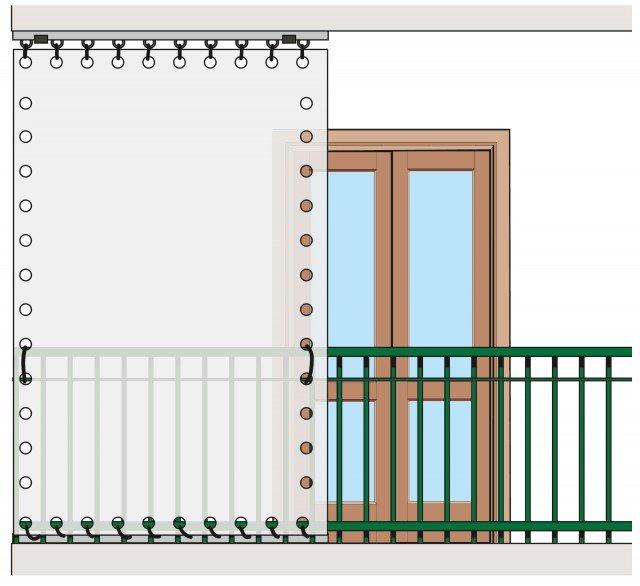 1. Fissare un binario sulla soletta del balcone al piano superiore e uno alla parte inferiore della ringhiera. Poi, tra i due, tendere bene le tende.