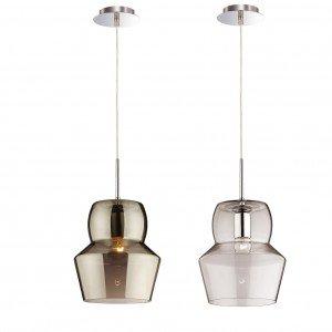 Con diffusore in vetro soffiato trasparente o colorato, la sospensione Zeno di Ideal Lux misura Ø 22 x H  40 cm. Il prezzo è di due.  € 186*