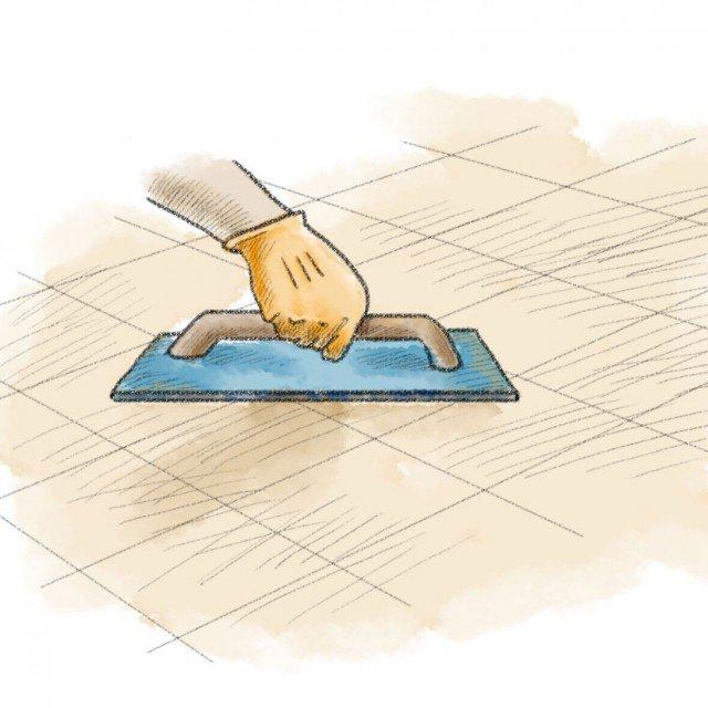 4- Si attende il tempo necessario, indicato dal produttore dell'adesivo, e si procede alla stesura dello stucco, applicato in dose generosa con il cosiddetto frattazzo, un attrezzo piatto e rettangolare provvisto di impugnatura e di una superficie rivestita in gomma. L'applicazione va eseguita tenendo il frattazzo inclinato di circa 30 gradi, riempiendo le fughe con molta cura, poi si toglie l'eccesso di stucco utilizzando il frattazzo in diagonale e con una inclinazione maggiore. Quando lo stucco cambia di colore, dopo 20-60 minuti ma anche di più a seconda del prodotto impiegato, si toglie il residuo sulle piastrelle con una spugna umida. Il pavimento ritornerà calpestabile dopo 24-48 ore a seconda della temperatura e dell'umidità esterne. La quantità di stucco da acquistare è dipendente dalla grandezza delle piastrelle e delle fughe. In generale, si calcola l'impiego di 500 g di prodotto al mq per piastrelle grandi 30 x 30 cm e di 300 gr di prodotto al mq per piastrelle di dimensioni pari a 60 x 60 cm.