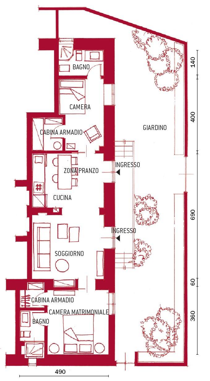 Pianta cose di casa - Progetto casa 100 mq 2 bagni ...