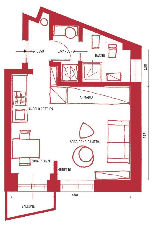 Monolocale: 28 mq ben sfruttati - Cose di Casa