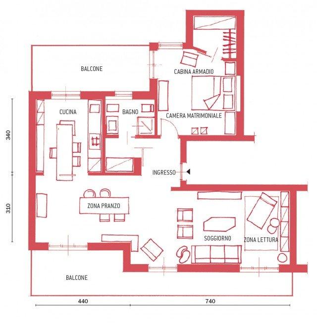 Equilibrio di contrasti nel bilocale di 80 mq cose di casa for Progetto casa rettangolare