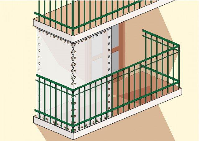 """2. Le protezioni devono essere previste sia sulla parte frontale del terrazzo che su quella laterale se questi sporge oltre il filo di facciata. Più semplice è il discorso se il balcone è incassato, in tutto o in parte: basterà """"chiudere"""" una porzione della parte aggettante."""