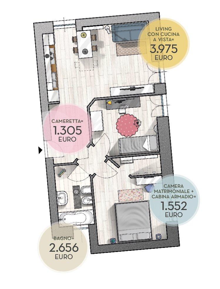 Low cost arredare il trilocale e rinnovare il bagno con for Arredare casa con 10000 euro