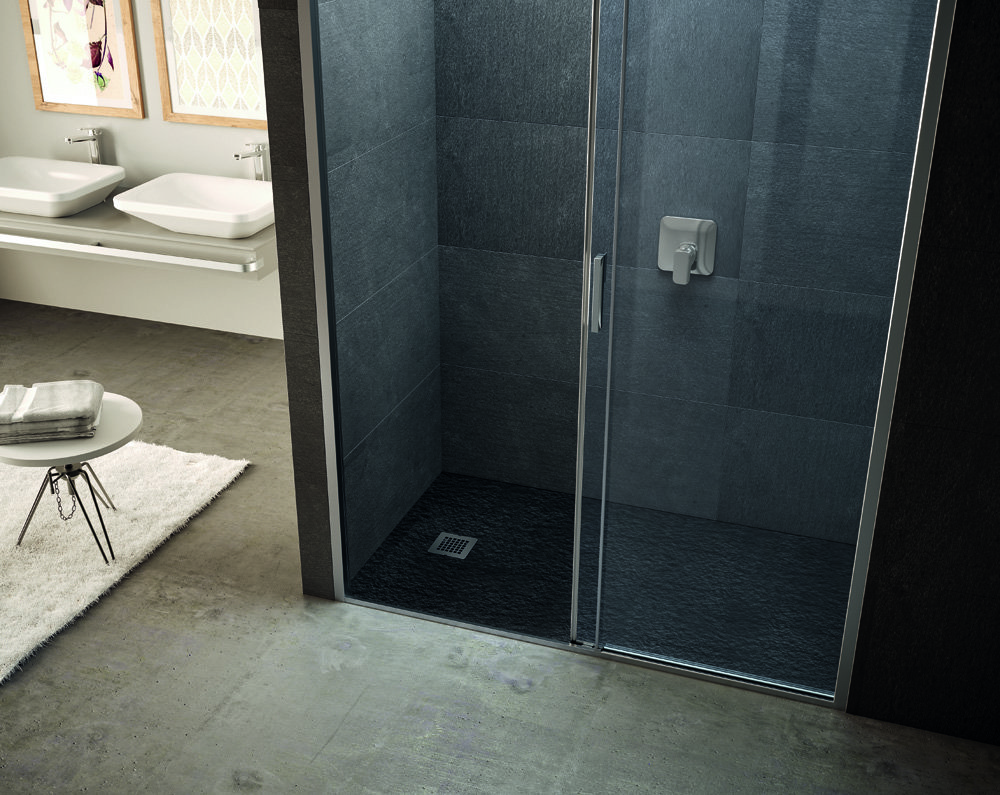 Nuovi piatti doccia effetto pietra cose di casa - Piatto doccia nero ...