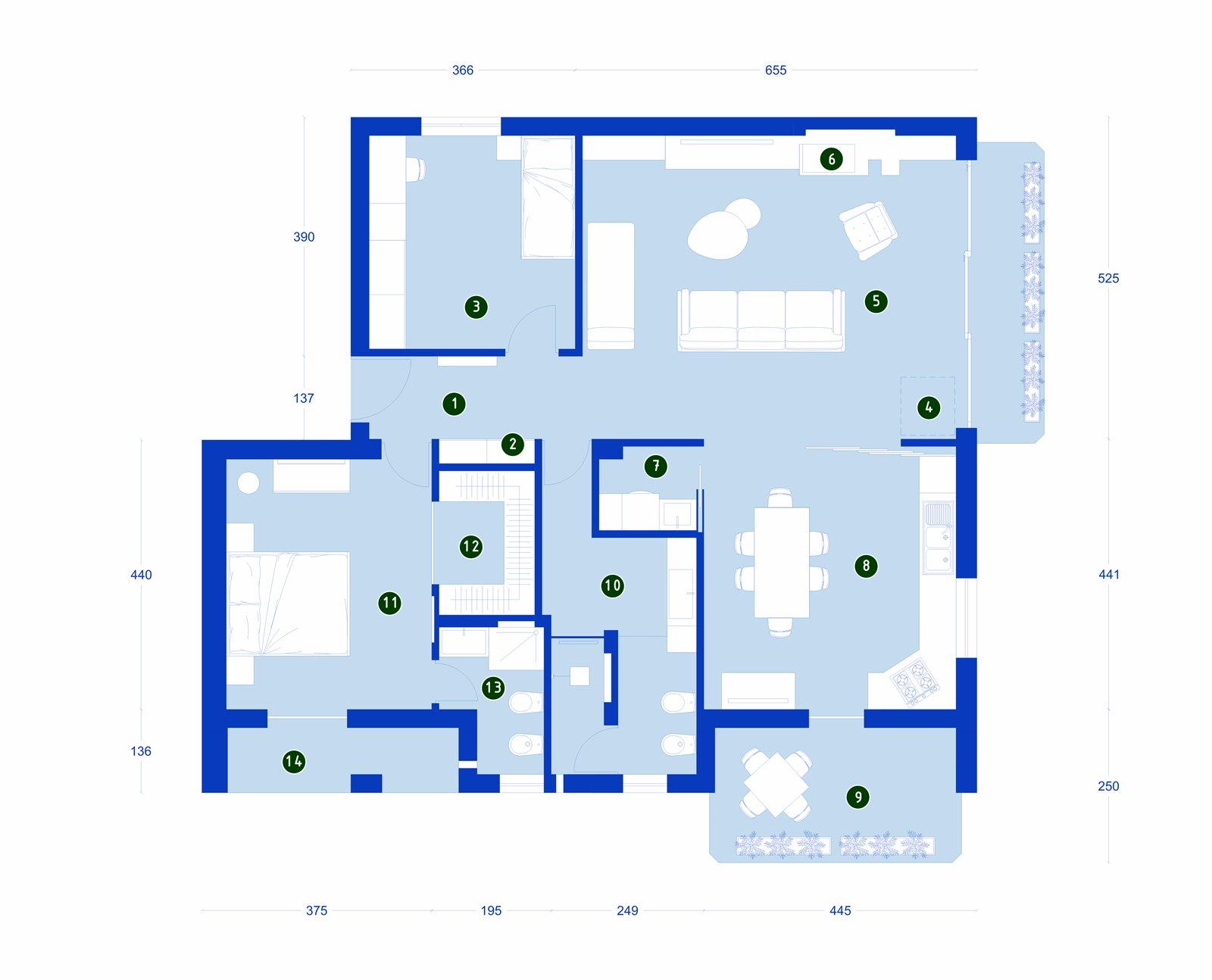 Una casa con soggiorno e cucina divisi solo quando serve for Piano casa artigiano di eplans